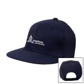 Navy Flat Bill Snapback Hat-University Mark Horizontal