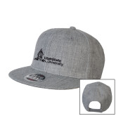 Heather Grey Wool Blend Flat Bill Snapback Hat-University Mark Horizontal