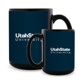 Full Color Black Mug 15oz-University Wordmark