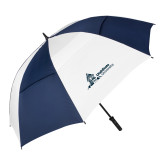 62 Inch Navy/White Vented Umbrella-University Mark Horizontal