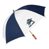 62 Inch Navy/White Vented Umbrella-Utah State Stacked w/  Mascot