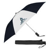 42 Inch Slim Stick Black/White Vented Umbrella-University Mark Stacked
