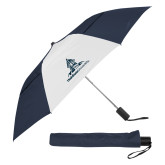 42 Inch Slim Stick Navy/White Vented Umbrella-University Mark Stacked