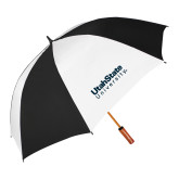 62 Inch Black/White Vented Umbrella-University Wordmark