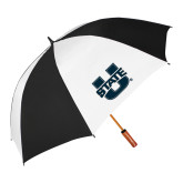 62 Inch Black/White Vented Umbrella-Primary Mark Athletics