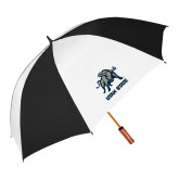 62 Inch Black/White Vented Umbrella-Utah State Stacked w/  Mascot