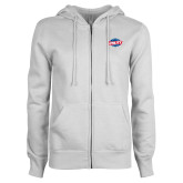 ENZA Ladies White Fleece Full Zip Hoodie-Utility