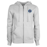 ENZA Ladies White Fleece Full Zip Hoodie-Genuine Parts