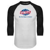 White/Black Raglan Baseball T Shirt-Utility w Tagline