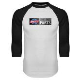 White/Black Raglan Baseball T Shirt-Heavy Duty Parts Horizontal