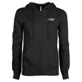ENZA Ladies Black Fleece Full Zip Hoodie-Heavy Duty Parts Horizontal