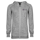 ENZA Ladies Grey/Black Marled Full Zip Hoodie-Heavy Duty Parts Horizontal