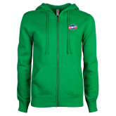 ENZA Ladies Kelly Green Fleece Full Zip Hoodie-Utility