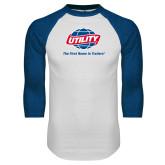 White/Royal Raglan Baseball T Shirt-Utility w Tagline