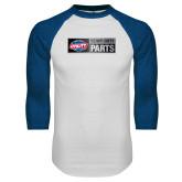 White/Royal Raglan Baseball T Shirt-Heavy Duty Parts Horizontal