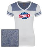 Ladies White/Heathered Royal Juniors Varsity V Neck Tee-Utility