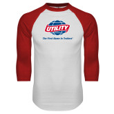 White/Red Raglan Baseball T Shirt-Utility w Tagline