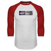 White/Red Raglan Baseball T Shirt-Heavy Duty Parts Horizontal