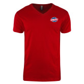 Next Level V Neck Red T Shirt-Utility
