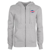 ENZA Ladies Grey Fleece Full Zip Hoodie-Utility