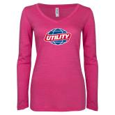 ENZA Ladies Hot Pink Long Sleeve V Neck Tee-Utility
