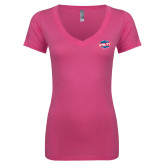 Next Level Ladies Junior Fit Ideal V Pink Tee-Utility