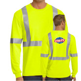 Safety Yellow ANSI 107 Class 2 Safety Long Sleeve T Shirt w/Pocket-Utility