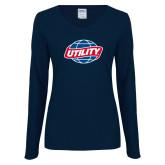 Ladies Navy Long Sleeve V Neck Tee-Utility