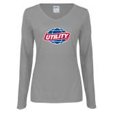 Ladies Grey Long Sleeve V Neck Tee-Utility
