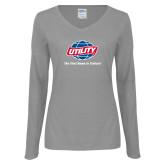 Ladies Grey Long Sleeve V Neck Tee-Utility w Tagline