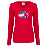 Ladies Red Long Sleeve V Neck Tee-Utility