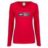 Ladies Red Long Sleeve V Neck Tee-Heavy Duty Parts Horizontal
