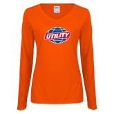 Ladies Orange Long Sleeve V Neck Tee-Utility