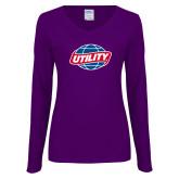Ladies Purple Long Sleeve V Neck Tee-Utility