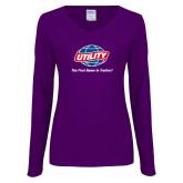 Ladies Purple Long Sleeve V Neck Tee-Utility w Tagline