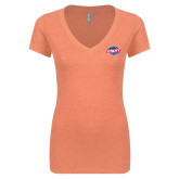 Next Level Ladies Vintage Orange Tri Blend V Neck Tee-Utility