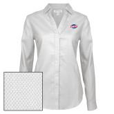 Ladies Red House Diamond Dobby White Long Sleeve Shirt-Utility