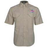 Khaki Short Sleeve Performance Fishing Shirt-Utility
