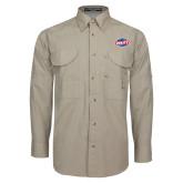 Khaki Long Sleeve Performance Fishing Shirt-Utility