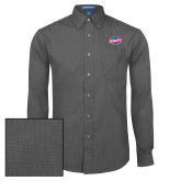 Mens Dark Charcoal Crosshatch Poplin Long Sleeve Shirt-Utility