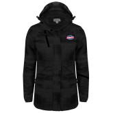 Ladies Black Brushstroke Print Insulated Jacket-Utility