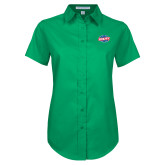 Ladies Kelly Green Twill Button Up Short Sleeve-Utility
