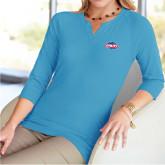 Ladies V Notch Light Blue 3/4 Sleeve Shirt-Utility