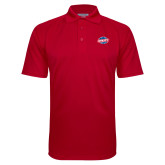 Red Textured Saddle Shoulder Polo-Utility