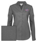 Ladies Red House Diamond Dobby Charcoal Long Sleeve Shirt-Utility