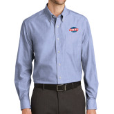 Mens Light Blue Crosshatch Poplin Long Sleeve Shirt-Utility