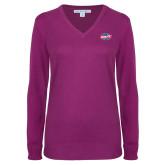 Ladies Deep Berry V Neck Sweater-Utility