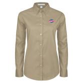 Ladies Khaki Twill Button Down Long Sleeve-Utility