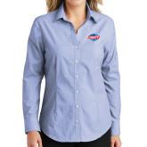 Ladies Light Blue Crosshatch Poplin Long Sleeve Shirt-Utility