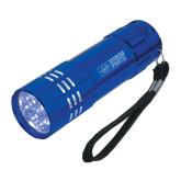 Industrial Triple LED Blue Flashlight-Heavy Duty Parts Horizontal Engraved